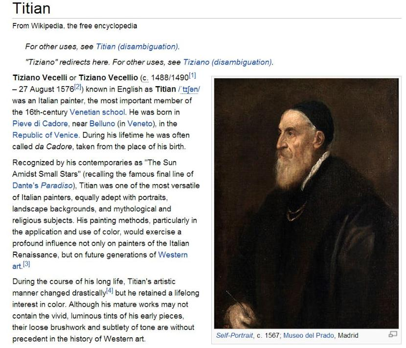 Titian listing in Wikipedia. Click to access.